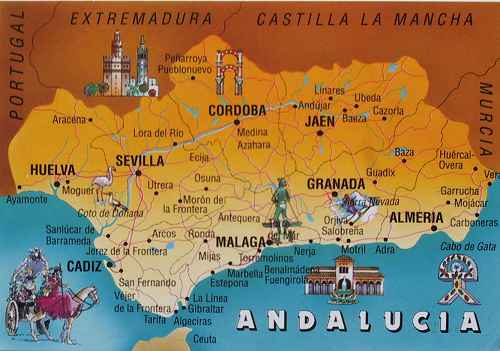 map of Costa Del Sol Andalucia Andalusia